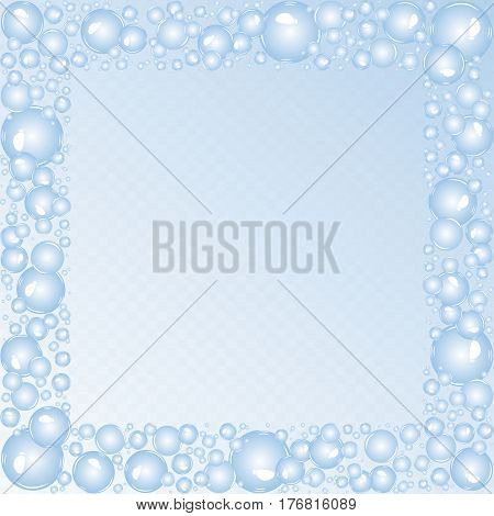 Soap bubbles background. Air bubbles vector. Bubbles square frame