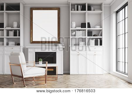Living Room With White Walls And An Armchair