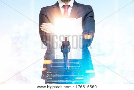 Double exposure of a man climbing the stairs inside a bearded businessman standing in a blue office. 3d rendering double exposure mock up toned image