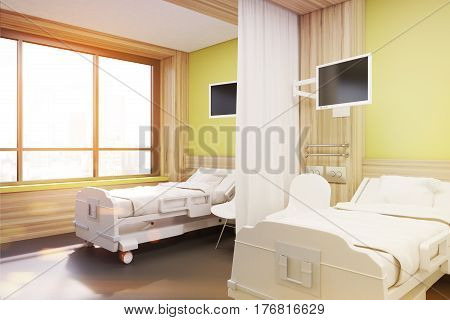 Ward With Two Beds, Yellow, Side, Toned