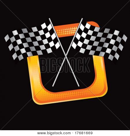 racing checkered flags on tilted web button