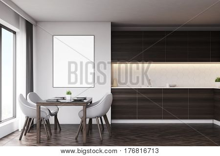 Dark Wood Kitchen With Table And Poster