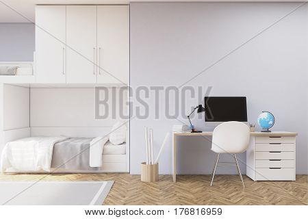 Front view of a gray teenager room wtih a computer standing on a desk a bunk bed and a bike. 3d rendering