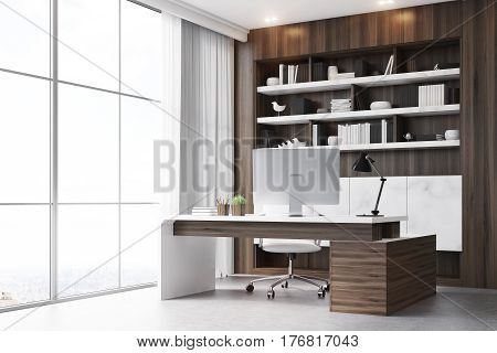 Dark Wooden Workplace With Table, Corner
