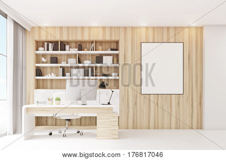 Light Wooden Workplace With Table