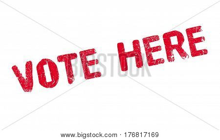 Vote Here rubber stamp. Grunge design with dust scratches. Effects can be easily removed for a clean, crisp look. Color is easily changed.