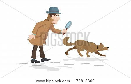 Detective with magnifying glass and tracker dog hunting market trends.