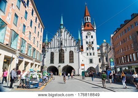 The Old Town Hall Located On The Central Square Of Munich, Germany.