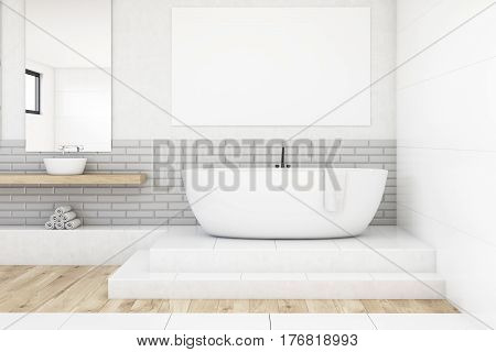 Bathroom With Two Mirrors And Poster, White