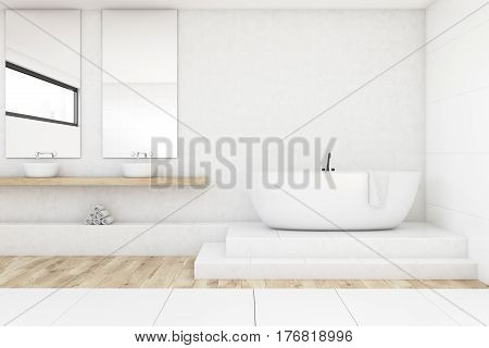 Bathroom With Two Mirrors, White