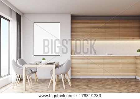 Light wood kitchen with a table and a poster. There are countertops and a panoramic window. 3d rendering mock up