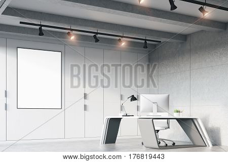 Ceo Office With A Futuristic Table, Side
