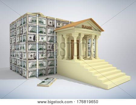 Bank building with dollar banknotes. 3D rendering
