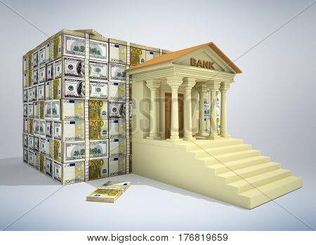 Bank building with dollar and euro banknotes. 3D rendering