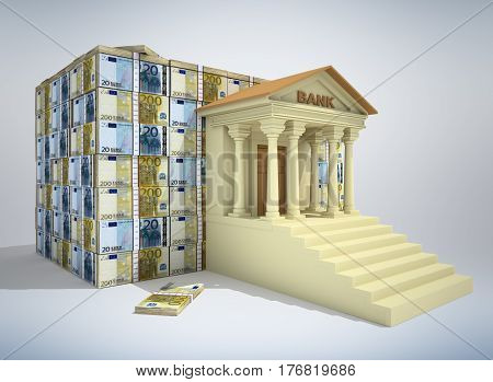 Bank building with euro banknotes. 3D rendering.