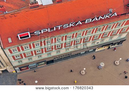 ZAGREB CROATIA - FEBRUARY 12: Top view of undefined people going by the bank office in Zagreb on February 12 2017.