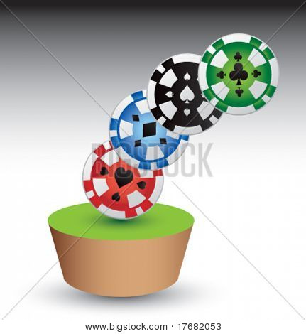 gambling chips on green table patch