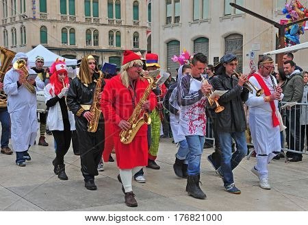 SPLIT CROATIA - FEBRUARY 26: Orchestra in the street during the carnival of Split on February 26 2017.