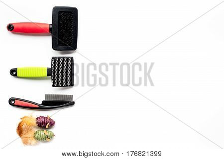 grooming tools for pet training concept on white table background top view mock-up