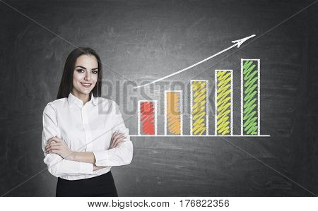 Woman With Crossed Arms And Colored Graph