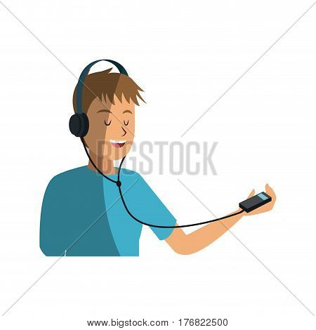 young man listening music over white background. colorful design. vector illustration