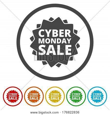 Cyber monday sale inscription circle design on white