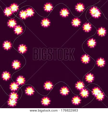 Light garlands, background with yellow glowing lights on lilac background. Illustration with background with border.