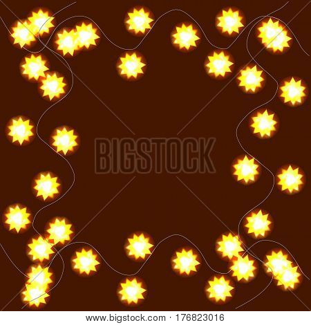 Light garlands, background with yellow glowing lights on brown background. Illustration with background with border.