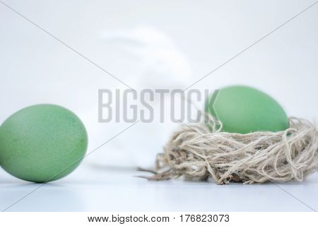 Green easter egg - greetings, green eggs
