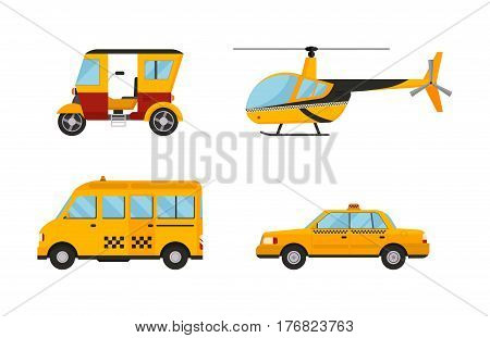 Different types of taxi transport. Cars, helicopter, van truck, bus. Taxi transport vector illustration. Taxi cars city service girl manager. Passengers and delivery taxi service