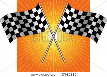 racing checkered flag on starburst