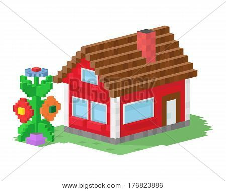 Cute colorful flat style house village pixel art real estate cottage and home design residential colorful building construction vector illustration. Graphic exterior adorable neighborhood place.