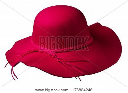 Fedora Hat Isolated On White Background .red Hat