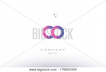 Co C O  Pink Modern Creative Alphabet Letter Logo Icon Template