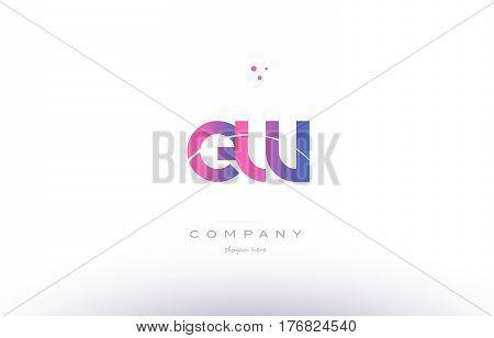 Ew E W  Pink Modern Creative Alphabet Letter Logo Icon Template
