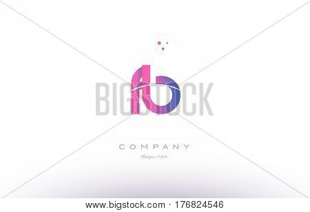 Fb F B  Pink Modern Creative Alphabet Letter Logo Icon Template