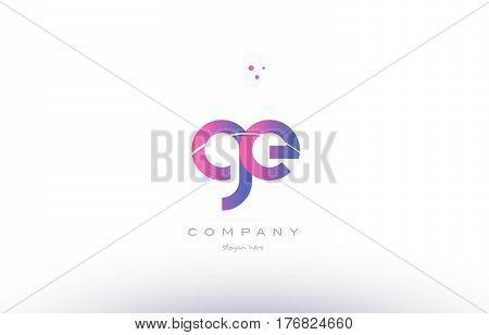 Ge G E  Pink Modern Creative Alphabet Letter Logo Icon Template