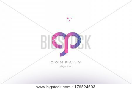 Gp G P  Pink Modern Creative Alphabet Letter Logo Icon Template