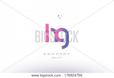 Hg H G  Pink Modern Creative Alphabet Letter Logo Icon Template
