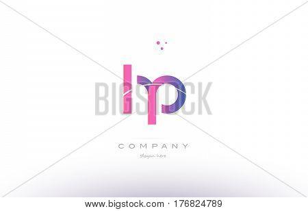 Hp H P Pink Modern Creative Alphabet Letter Logo Icon Template