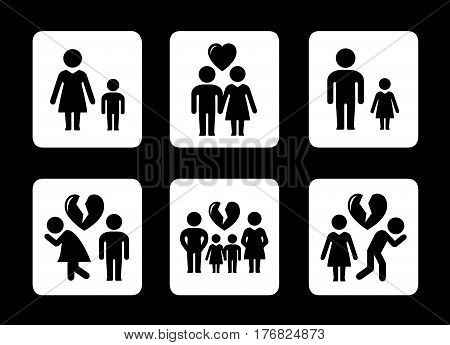 set of family relationships concept icons. divorce, quarrel or happy family situation.