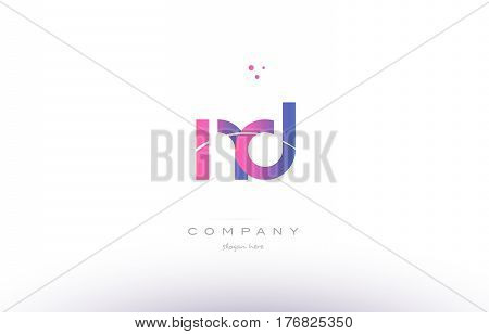 Nd N D  Pink Modern Creative Alphabet Letter Logo Icon Template