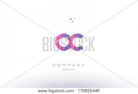 Oc O C  Pink Modern Creative Alphabet Letter Logo Icon Template