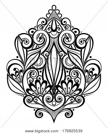 Vector Black Decorative Element in Doodle Style with Lot of Swirls. Symmetrical Ethnic Object for Your Designs. Contour Floral Deco Composition. Template Ready for Pressured Based Specialty Printing