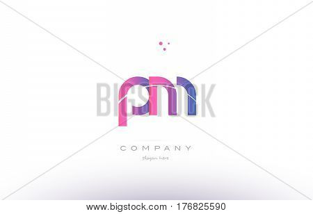 Pm P L  Pink Modern Creative Alphabet Letter Logo Icon Template
