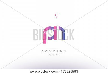 Pn P N  Pink Modern Creative Alphabet Letter Logo Icon Template