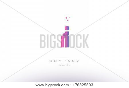 Ri R I  Pink Modern Creative Alphabet Letter Logo Icon Template