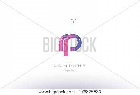 Rp R P  Pink Modern Creative Alphabet Letter Logo Icon Template