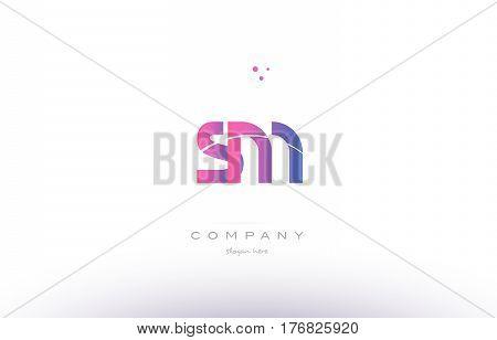 Sm S M  Pink Modern Creative Alphabet Letter Logo Icon Template