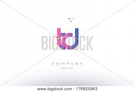 Td T D  Pink Modern Creative Alphabet Letter Logo Icon Template